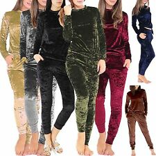 Ladies Womens Crushed Velvet Sweatshirt Lounge Wear Lounge Suit Tracksuit S-XXL