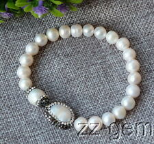 N1610064    natural white frshwater pearls with CZ micro pave beads bracelet
