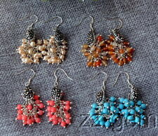 N1610065    carnelian/turquoise/pearl/red with CZ micro pave beads earrings