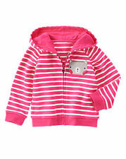 NWT Gymboree LAVENDER BUNNY Baby Girl Pink Striped Kitty Zip Hoodie Jacket 12-24