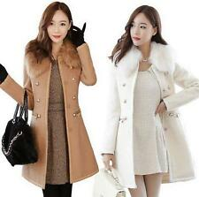 Korean women Slim Thicken Woolen jacket Fur Collar Fashion Outwear Parkas New YT
