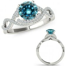 2.25 Carat Blue Diamond Crossover Infinity Cluster Ladies Ring 14K White Gold