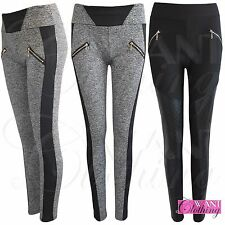 LADIES ZIP BLACK PU GREY MARL LEGGINGS WOMEN JEGGINGS STRETCH TROUSER PANTS 8-14