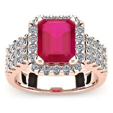 14K ROSE GOLD 3 3/4 CARAT EMERALD SHAPE GENUINE RUBY AND HALO DIAMOND RING