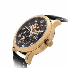 Men Luxury Automatic Mechanical Skeleton Stainless Steel Leather Wrist Watch