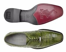 Belvedere Mens Shoes Marcello Genuine Crocodile Skin Lace Up Emerald Green 1493