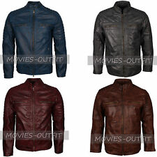 New Mens Motor Biker Cafe Racer Classic Vintage Waxed Rider Leather Jackets
