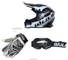 New Kids Wulfsport Motocross Helmet Goggles Gloves Bundle (All Sizes) Youth Mx