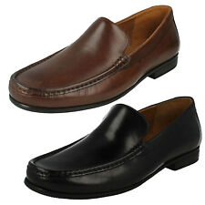MENS CLARKS LEATHER SLIP ON WIDE FORMAL CLASSIC LOAFER SHOES CLAUDE PLAIN