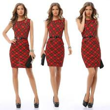 Women's Plaids Pattern Office Lady Wiggle/Pencil Cocktail Slim Cap Sleeves Dress