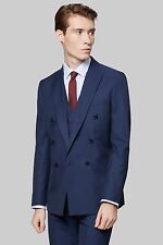 Moss London Mens Blue Suit Jacket, Skinny Fit, Double Breasted, One Button