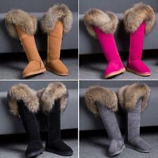 Womens Knee High Boots Flats Luxurious Big Fox Fur Real Leather Snow Winter Shoe