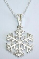 925 Sterling Silver SNOWFLAKE Frozen Pendant Chain Necklace Christmas #1 + Box