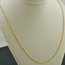 10K YELLOW GOLD 1.0mm SINGAPORE PENDANT CHAIN NECKLACE