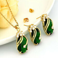 18K Gold Plated Muiticolor Crystal Water Drop Jewelry Set Necklace + Earring Hot