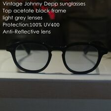 Retro Vintage Johnny Depp sunglasses mens acetate black frame light grey lenses