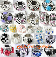 Crystal Rhinestone Enamel Spacer European Beads Fit Charm Bracelet Findings