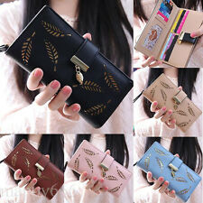 Women Leaf Bifold Wallet Leather Clutch Card Holder Purse Lady Long Handbag