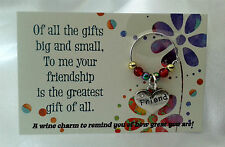 Friendship wine charm Gift - Birthday, For Him, Her, special friend, thank you