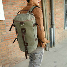 Retro Canvas Leather Shoulder Bag Backpack Overnight Duffle Bag Travel Luggage