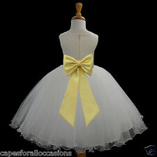 IVORY FLOWER GIRL DRESS PAGEANT T-LENGTH WEDDING BRIDAL 12m 18m 2 4 6 6X 8 10 12