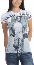 James Dean - Walking In New York Womens T-Shirt In Sub-White Burnout