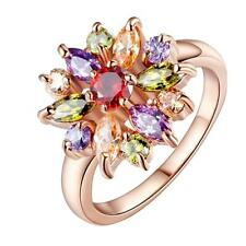 Womens Multi color Crystal Flower Wedding Party Finger Ring Rose Gold US-6/7/8/9