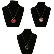 Bright Color Enamel Disc Pendant Sweater Chain Necklace Earring Jewelry Set #