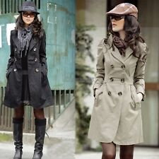 Women's Slim Fit Trench Charm Double-breasted Coat Fashion Jacket OK