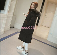 Winter Over Knee Long Cotton Coat Womens Fur Hooded Warm Fashion Jacket Outwears