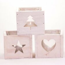 White wooden tealight holder cube with glass insert, Christmas tree/star/heart