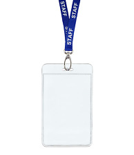 Blue STAFF ID Lanyard Neck Strap Metal Clip and Vertical Badge Card Holder Pouch