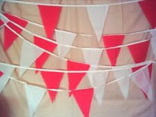 20ft WHITE & RED FABRIC BUNTING ST GEORGE WEDDINGS GARDENS  POST FREE