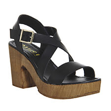 Womens Office Michigan Cross Strap Sandals BLACK LEATHER Heels