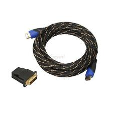 1.5FT-30FT Braided HDMI Cable Cord+DVI Adapter V1.4 AV HD 3D for Xbox HDTV 1080P