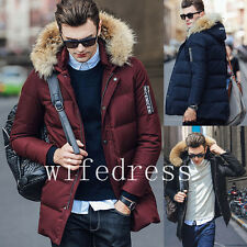 Fashion Men's Winter Thicken Down Coats Warm Hooded Jackets Trench Parka Outwear