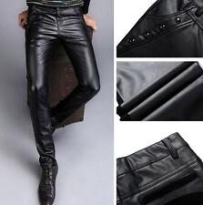 Hot new  Men's Skinny PU Leather Casual Motorcycle pants Jeans Casual Pants Size
