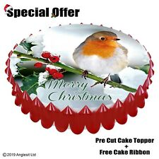 "MERRY CHRISTMAS CAKE SET d/3 : 7"" / 18CM EDIBLE WAFER TOPPER DECORATION"