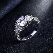Women 10Kt White Gold Filled Engagement Ring White Sapphire Gift Band Size 6-10