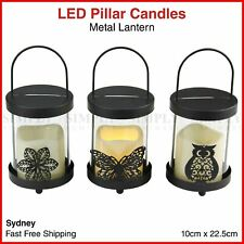 LED Flameless Pillar Candle Metal Lantern Holder Hanging Light Battery Black
