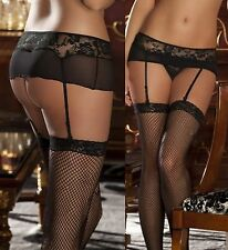Lace Mesh Garter Belt Attached G-String Optional Lace Top Stockings #GB-001