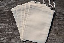 "Reusable Natural Cotton Muslin Drawstring Bags (5"" x 7"")"