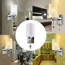 Modern Simple Silver Chrome White Glass Indoor Wall Light Lamp Lights Fittings