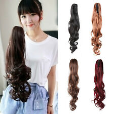 Fashion Women Girls Clip In Hair Extension Pony Tail Wrap Curly Claw Ponytail