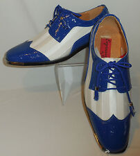 Mens Royal Blue Croc-Look & White Satin Silvertip Dress Shoes Expressions 6345