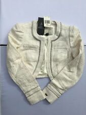 Guess Betsy Jacket Crop Long Sleeve Milk Silver Glitter Womens Sizes XS S M  NWT