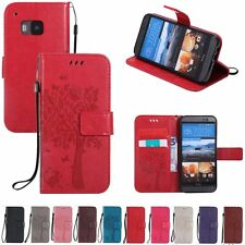 Flip Leather Wallet Cash Cards Holder Stand w/Strap Case Cover For HTC One M8 M9