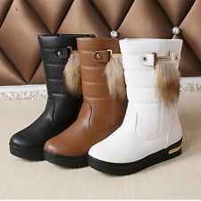 Plush Womens Mid Calf Snow Boots Winter Warm Flats Shoes Slip On Casual Fashion