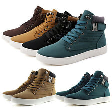 Mens High Top Trainers Pumps Shoes Canvas Ankle Boots Walking Sports Sneakers