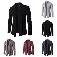 Smart Men's Casual Solid Color Long Sleeve Knitted Sweater Autumn Thin Coat Top